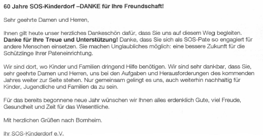 Post vom SOS-Kinderdorf