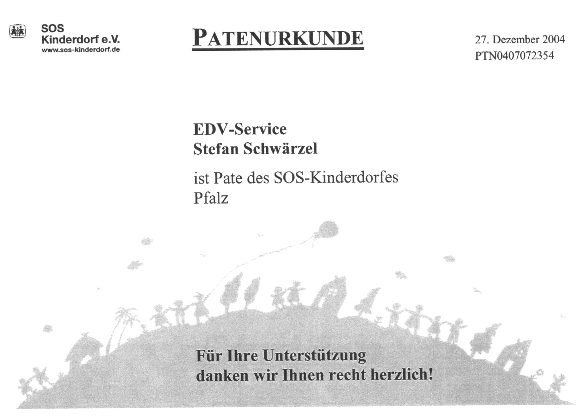 Patenurkunde SOS-Kinderdorf