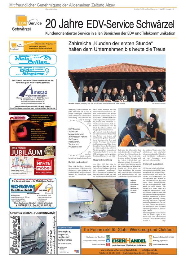AZ-Zeitungsartikel Seite 1